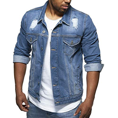 Qinhanjia Herren Jeansjacke Casual Vintage Distressed Ripped Hole Mode Slim Fit Jeans Tops, Herren Langarm Loch Revers Tasche Mode Jeansjacke Retro Top Bluse