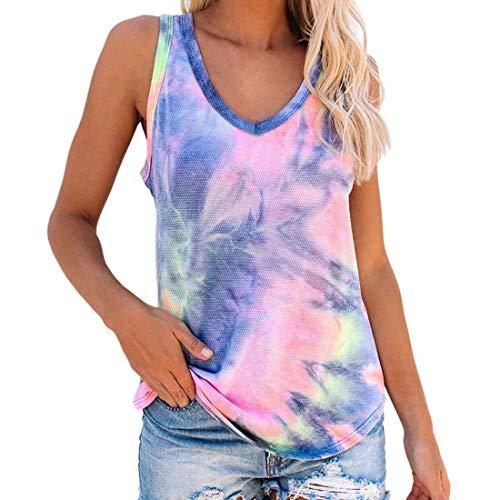 T-Shirt Damen Sommer ärmellos Weste Oberteile Casual Loose Tie- dye V-Ausschnitt Design T Shirt Fashionable Bequemer Weiches Streetwear Jogging Fitness Shirt Sport Shirt Tops XL