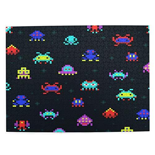 Rompecabezas con Imágenes 500 Piezas,Cute Pixel Robots Space Invaders Videojuego Retro Computadora Pixel Monster,Juego Familiar Arte de Pared Regalo para Adultos,Adolescentes,Niños,20.4' x 15'