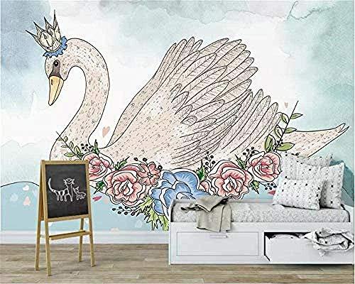 Taikang 3D Wallpaper Wandbild Kinderzimmer White Swan Animal Flower 3D Wallpaper Wandbild 3D Wallpaper