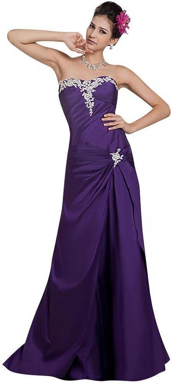 Dearta Women's ALine Sweetheart Sleeveless FloorLength Taffeta Prom Dresses