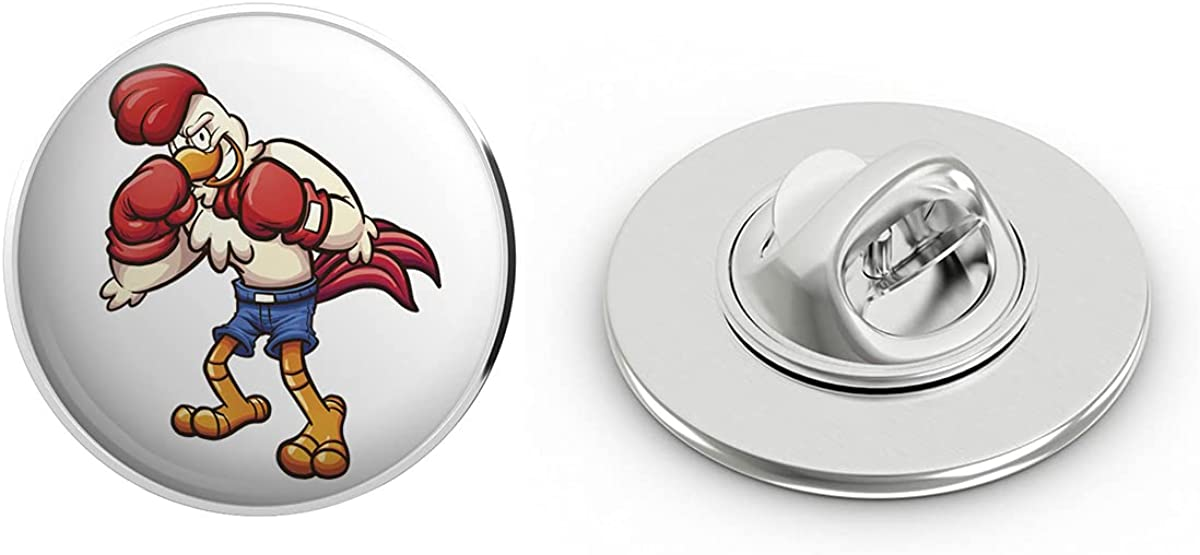 BRK Studio Angry Aggressive Boxing Fighting Animal - Chicken Rooster Round Metal 0.75