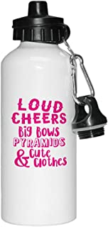 Style In Print Hot Pink Loud Cheers Big Bows Pyramids Cute & Clothes Aluminun White Water Bottle