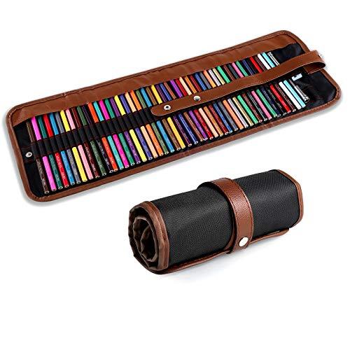 Yordawn Lapices Colores 48 Lápices de Colores Set de Lapices de Dibujo Artículos de Arte con Lápices de Colores Sacapuntas Extensor en Estuche Enrollable para Adultos Niños Artistas