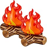 Inflatable Campfire Camping Props, Bonfire Party Decor, Campfire Party Decorations, Artificial Flame Campfire for Indoor Camping Overnight and Scene Setting (2)