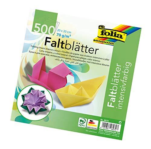 folia 8970 - Faltblätter 20 x 20 cm, 70 g/qm, 500 Blatt sortiert in 10 intensiven Farben - ideal zum Papierfalten und für andere kreative Bastelarbeiten