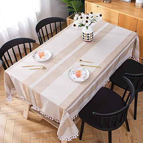 Generic Moderne minimalistische Leinentischdecke mit wasserdichter und ölbeständiger rechteckiger Tischdecke