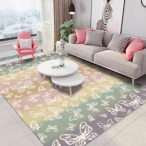TALSOFA Nordic Rainbow Color Schmetterling Teppich Kinderzimmer Für Mädchen Modern Fashion Teppich Couchtisch Bodenmatte Nacht Mat Schlafzimmer-Dekor,40x120cm