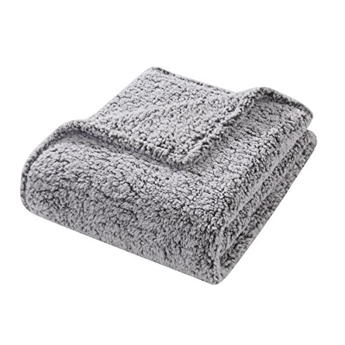 HYSEAS Sherpa Throw Blanket Grey - Super Soft Plush Cozy Solid Blanket for Couch, Bed, Chair, Sofa - All Seasons Lightweight Brush Fabric Microfiber - 50x60 Inch