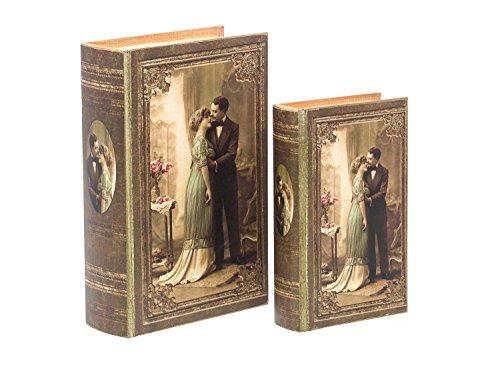 2X Schatulle Hochzeit Liebe Holz Buchattrappe Box Schmucketui Buchtresor Buchsafe