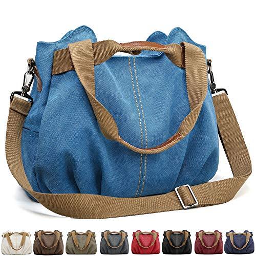 SCIEU Handtasche Damen Canvas Schultertasche Multifunktionale Umhängetaschen Casual Hobo Groß Taschen für Arbeit Schule Beach Shopper Blau