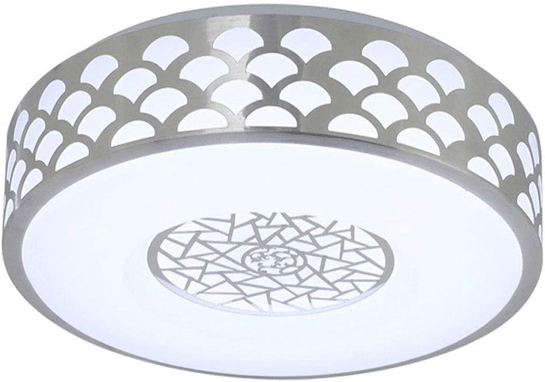 LCTCXD Moderne geführte Wohnzimmer-Schlafzimmer-runde Moderne einfache Balkon-Studien-Lampen-Aluminiumenergieeinsparung (Farbe   TriFarbe Light, gre   35CM)