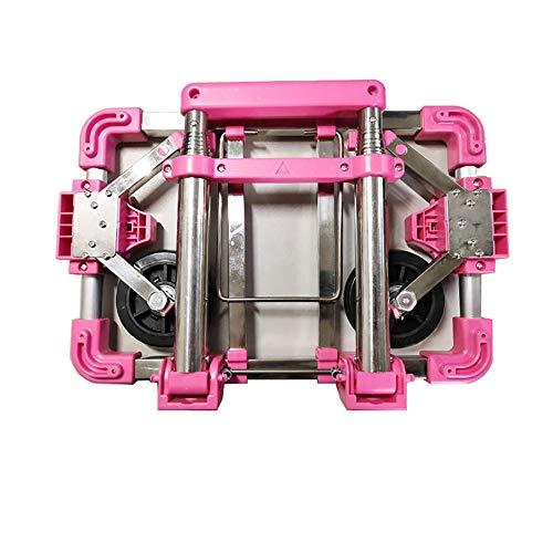 Carro Plegable, Carro De Compras Portátil Carro De Equipaje Carro, Remolque De Compras Silencioso para El Hogar, Tiene Una Capacidad De hasta 75 Kg. (Pink)