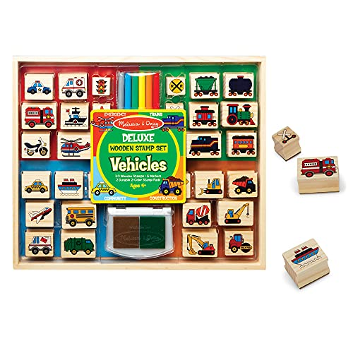 Melissa & Doug Deluxe Wooden Stamp and Coloring Set – Vehicles (30 Stamps, 6 Markers, 2 Durable 2-Color Stamp Pads)