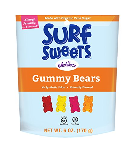 Surf Sweets Gummy Bears, Made with Organic Cane Sugar and Organic Fruit Juice, Gluten Free, Nut-Free, Vegetarian and No Artificial Colors or Flavors, 6 oz (Pack of 6)