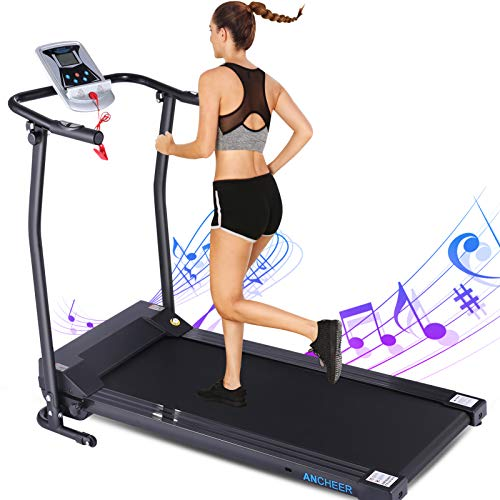 ANCHEER Treadmills,Folding Treadmill for Home,Running Machine with LCD Monitor,Electric Treadmills Pulse Grip and Safe Key,Jogging Walking Exercise Fitness Machine for Family & Office Workout1