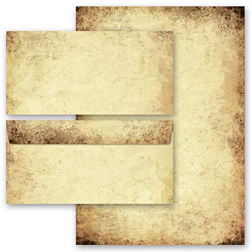 Briefpapier Set, 20 tlg. Antik & History, ALTES PAPIER 10 Blatt Briefpapier + 10 passende Briefumschläge DIN LANG ohne Fenster | Paper-Media