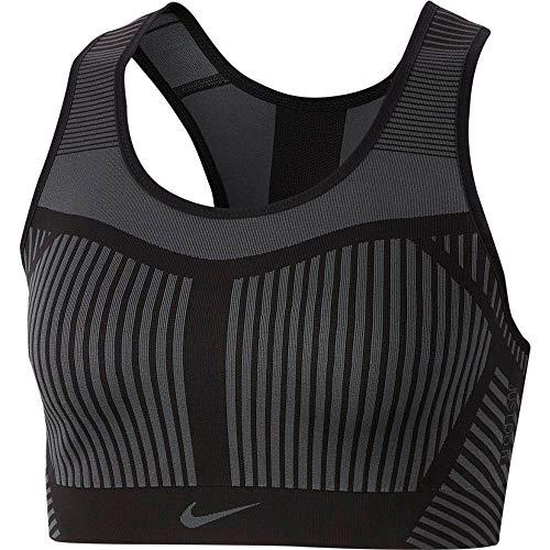 Nike Women's FE/NOM Flyknit High Support Sports Bra Black/Dark Grey Size S