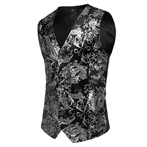 Gold Printed Vest Men Prom Suit Vest Men Waistcoat Wedding Formal Dress Vests for Me (Color : Sliver Print, Size : XL.)