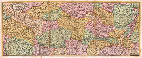 Historic Map - Course of The Rhine River/Nova Tractus Totius Rheni Oder Neue Beschreibung des Rhein-Strom, 1690, David Funcke - Vintage Wall Art 59in x 24in
