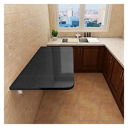 GHHZZQ Mesa Plegable Pequeña Montado En La Pared Tarea Pesada Escritorio de Mesa Plegable de Pared por Cuarto de Lavado/Bar En Casa/Cocina y Comedor (Color : Negro, Size : 80x50cm)