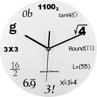HCGZ Maths Equation Clock, Modern timelike Unique Wall Clock Formulas Digital Creative Quiet Round Art