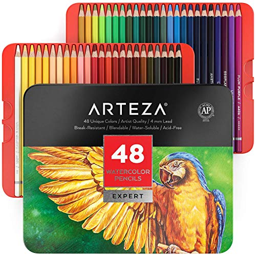Arteza Professional Watercolor Pencils, Set of 48, Multi Colored Art Drawing Pencils in Bright Assorted Shades, Ideal for Coloring, Blending and Layering, Watercolor Techniques
