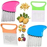 4Pcs Crinkle Cut Tool Set, Slicing Helper Stainless Steel Wavy Chopper, Fruit And Vegetable Onion Potato Slicer French Fry Crinkle Cutter, Safe Durable Also suitable for beginners Kitchen Tools