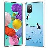 ZhuoFan Funda para Samsung Galaxy A51 5G, Cárcasa Silicona Transparente con Dibujos Diseño Suave TPU Antigolpes de Protector Piel Case Cover Fundas Movil para Samsung A51 5G, Pingüinos