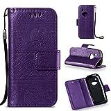 LMFULM® Hülle für Nokia 3310 PU Leder Magnet Brieftasche Lederhülle Elefant Prägung Design Stent-Funktion Handyhülle für Nokia 3310 Lila