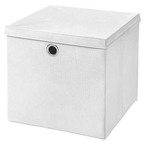 Stick&Shine 1x Aufbewahrungs Korb Weiß Faltbox 33 x 33 x 33 cm Regalkorb faltbar mit Deckel