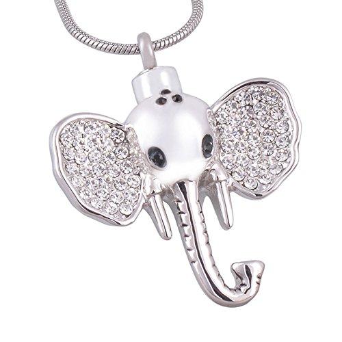 ANAZOZ roestvrijstalen huisdierverlies meorial urn ash halsketting hanger vuurbestating voor kristallen olifant vorm zilver