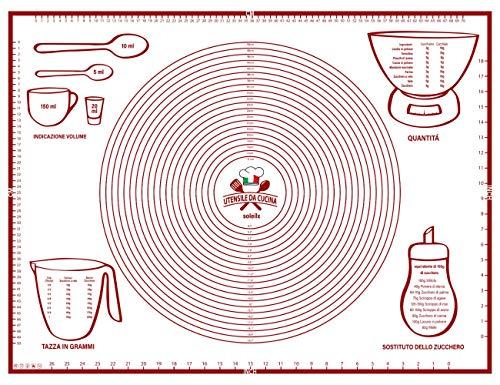 Spianatoia per Impastare 80x60 Disegno Italiano Misure in CM - Tappetino da Forno in Silicone Riutilizzabile Antiaderente Resistente al calore Tappeto da Cucina per Pasta fatta in Casa Pasticceria