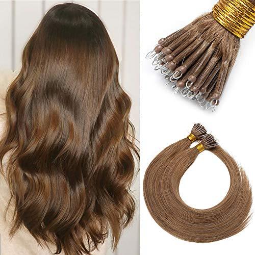 Nanoring Extensions Echthaar 1g Haarteile Echthaar Nano Haarverlängerung 7A Remy Hair Extensions 50 Strähnen Weich Glatt Loop Haarteil 50g 55cm #06 Hellbraun