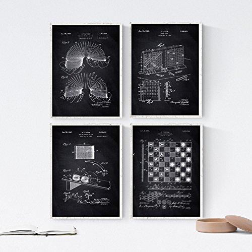 Nacnic Negro - Pack de 4 Láminas con Patentes de Juegos Infantiles. Set de Posters con inventos y Patentes Antiguas. Elije el Color Que Más te guste.