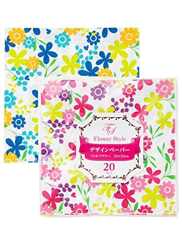 ストリックスデザイン 紙ナプキン フラワースタイル デザインペーパー 20枚 花柄 33×33cm ピンク ブルー 2色入 ペーパーナプキン オシャレ SD-021