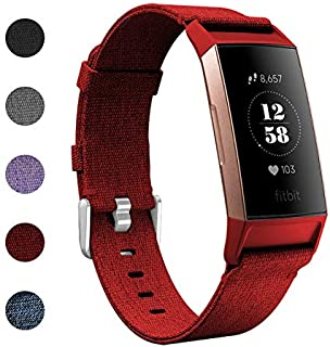 IUNI Fitbit Charge 3 Band Replacement Strap Woven Fabric Breathable Wristband Strap Fitbit Charge 3 Accessories - Red