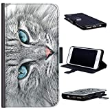 Hairyworm - Grey cat with blue eyes HTC 10 leather side