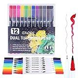 Duradero Colores Lettering Policromático Boligrafos Lettering Rotuladores Brush Pen para Manga Rotuladores Lettering Niño Adulto Casa Viaje Colegio black12pcs