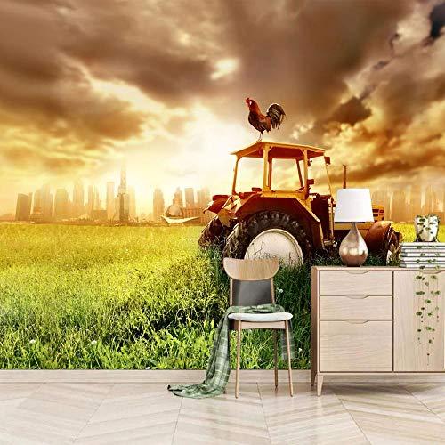 Papel Pintado Mural Gallo De Tractor De Granja 350x250cm/138x98.5In(Wxh) Papel Tapiz Fotográfico Murales Grandes Sofá Dormitorio Moderno Pintura Mural Decoración Para El Hogar