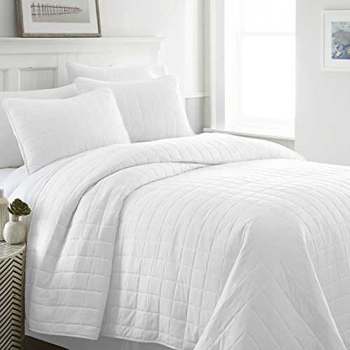 Simply Soft Quilted Coverlet Set Square Patterned , Twin/Twin X-Large, White