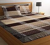 HIYANSHI HOME FURNISHING Glace Cotton King Size Brown Chunari Double Bedsheet 180 TC with 2 Pillow...