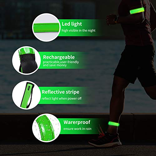 OMKHE Running Light for Runners (2 Pack) Rechargeable LED Armband Reflective Running Gear, LED Light Up Band for Joggers Bikers Walkers(Green)