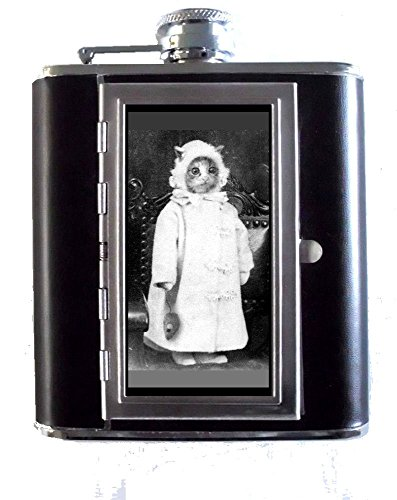 1800s Cat Photo Dressed Like Baby with Toy Mouse 5oz Stainless Steel & Leather Hip Flask with Built-in Cigarette Case