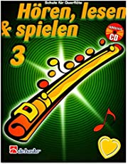 Escuchar, leer a jugar, 3 flauta travesera – Escuela para Flauta travesera de Jaap Kastelein, Michiel Oldenkamp – Libro con CD y pinza para partituras en forma de corazón