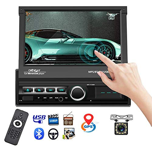 Single Din Car Stereo Navigation Car Radio 7' Motorized Touch Screen Bluetooth Head Unit Support GPS/FM Radio/AUX-in/USB/SD/Android iOS Mirror Link + 12 IR Car Backup Camera + Wireless Remote