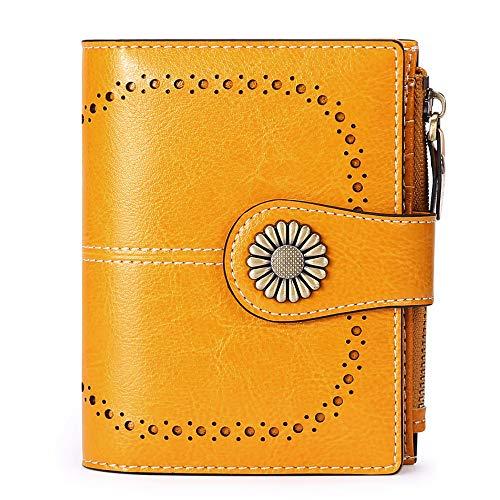Geldbörse Damen Leder aus weichem Echtleder mit 16Kartenfächer Kurz Portemonnaie und Blocker RFID