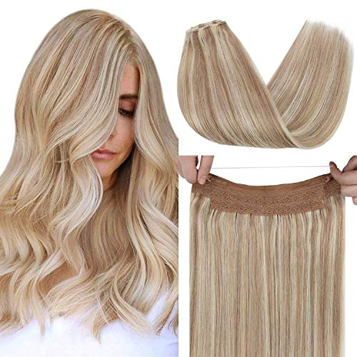 VeSunny Real Hair Halo Crown Extensions 14inch Remi Hair Extensions Color 18 Ash Blonde Highlighted 613 Bleach Blonde Secret Halo Extensions Invisible Hairpiece 80G/Set
