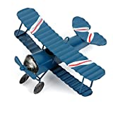 Evilandat Vintage Avion Décoration Modèle Biplan Avion en Fer Miniature Décoration de Maison Collection Ornement Bureau Bleu