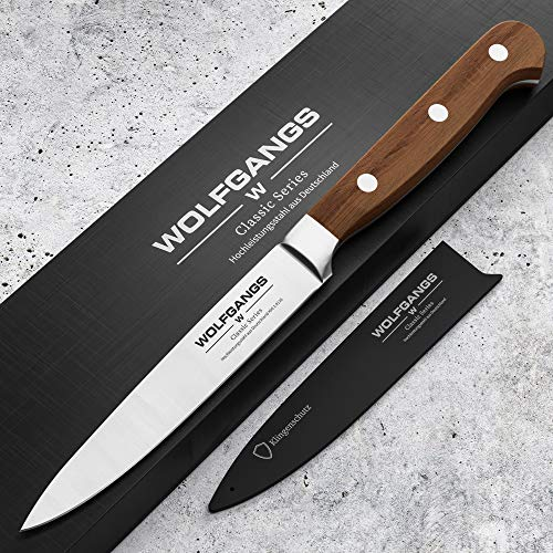 WOLFGANGS Allzweckmesser scharf Premiumqualität – Extra scharfes Küchenmesser – kleines scharfes Messer mit rostfreier Edelstahlklinge – Küchenmesser scharf hochwertige Klinge (braun)